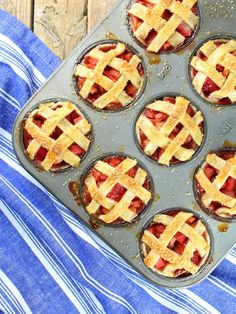 These Mini Strawberry Rhubarb Pies in Muffin Tins are the most delicious and adorable summer treats! This semi-homemade recipe is an easy dessert that will impress all your guests.  https://tasteandsee.com