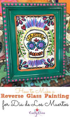 Day of the Dead Craft: Reverse Glass Painting 101 - Crafty Chica™ Mason Jar Crafts, Mason Jar Diy, Dollar Store Crafts, Diy Crafts To Sell, Kid Crafts, Painted Paper, Hand Painted, Mexican Crafts, Mexican Art