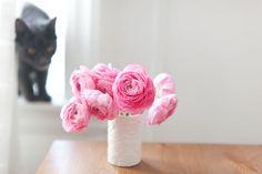Vase of pink Rununculus