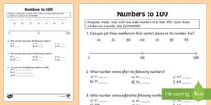 Recognise, Read and Write Numbers up to 100 Activity Sheets -  numbers to 100, worksheets, ordering numbers, reading numbers, writing numbers, number recognition,