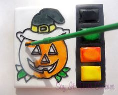 Paint your own cookie Halloween hand decorated sugar cookie