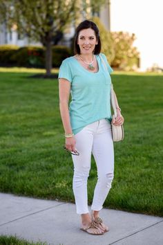 Alternatives to Shorts: Crop Jeans Love the gold and blue accessories in this picture! Such a pretty outfit for summer. Fashion for the Modern Mom. Jo Lynne Shane