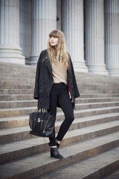 sandro sweater, sandro turtleneck, zara jacket, buffalo jeans, 3.1 phillip lim pashli, cheap monday boots