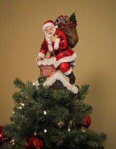 Tree Topper - Unique Tree Topper - Santa In Chimney - Summit Arbor
