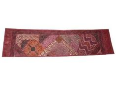 Table Runner Vintage Sari Beaded Moti Maroon Red Tapestry Throw India 80 X 20 Inch: Home & Kitchen $89.00