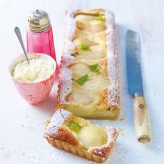 Pear, almond & Amaretto tart with stem ginger mascarpone cream / Lorraine Pascale Pear Tart, Pear And Almond Tart, Sweet Tarts, Macaron, The Fresh, Dessert Recipes, Fall Desserts, Brunch, Food And Drink