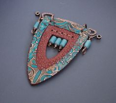 copper foil (textured, patinated), copper wire, polymer clay, glass beads