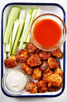 Made with all the flavor of buffalo chicken wings, complete with celery and carrots, these Buffalo Chicken Meatballs make for a fun dinner or meal prep! Blue Cheese Dipping Sauce, Gluten Free Meatballs, Clean Recipes, Healthy Recipes, Keto Recipes, Homemade Buffalo Sauce, Buffalo Chicken Meatballs, Greek Salad Recipes, Frozen Chicken