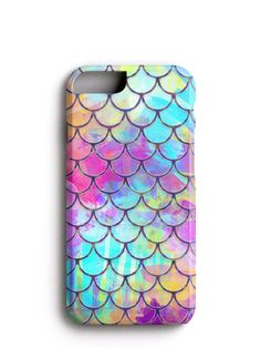 Watercolor Mermaid Scales iPhone 6 Case, iPhone 6s Case. Wrap around Design.