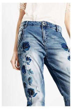 Floral boyfriend jeans - Denim | Desigual.com D