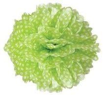 Lime Green/White Polka Dot 15 inch Pom