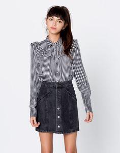 Camisa quadrados vichy - Blusas e camisas - Vestuário - Mulher - PULL&BEAR Portugal