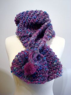 Handmade knitted, chunky, warm, soft, multicolored, scarf with pom pom for casual everyday outfits.