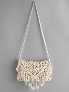 Shop Crochet Hollow Out Tassel Bag online. SheIn offers Crochet Hollow Out Tasse. - Shop Crochet Hollow Out Tassel Bag online. SheIn offers Crochet Hollow Out Tassel Bag & more to fit your fashionable needs. Source by - Diy Macrame Wall Hanging, Macrame Plant Hangers, Macrame Mirror, Macrame Curtain, Crochet Clutch Bags, Crochet Purses, Bag Crochet, Crochet Handbags, Macrame Purse