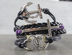 Charm bracelet - black wax attachment bracelet, silver anchor bracelet, holy cross bracelet, leather bracelet, the heart bracelet by itouchsoul