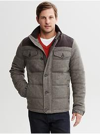 Quilted tweed puffer jacket