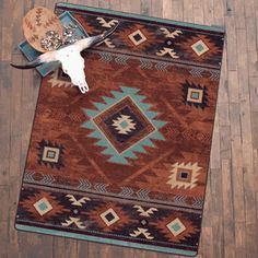 Whiskey River Rust Rug Collection - A Lone Star Western Decor Exclusive - These premium nylon rugs feature a diamond pattern in warm, spicy colors for southwest spirit.