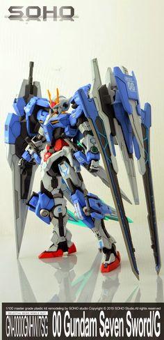 MG MSB 1/100 GN-0000GNHW/7SG 00 Gundam Seven Sword/G + 0 Raiser + XN Raiser - Painted Build