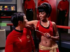 This won a contest for best meme by Takei.  I forget the saying, but it was something along the lines of: Uhura: The Captain is really good in bed.  Sulu: Yes, I know.