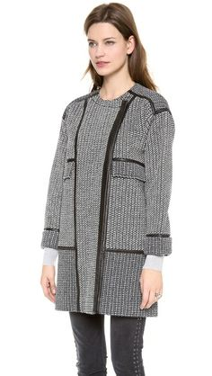 Rebecca Taylor - Tweed & Leather Coat