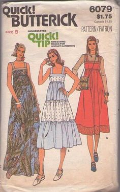 MOMSPatterns Vintage Sewing Patterns - Butterick 6079 Vintage 70's Sewing Pattern GORGEOUS Square Neck High Empire Waisted Contrasting Tiers...