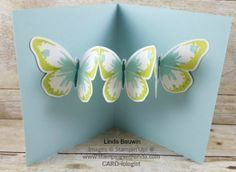 Linda Bauwin Your CARD-iologist Helping you create cards from the heart. 3d Cards, Pop Up Cards, Stampin Up Cards, Card Making Tutorials, Card Making Techniques, Fancy Fold Cards, Folded Cards, Butterfly Cards, Butterfly Template