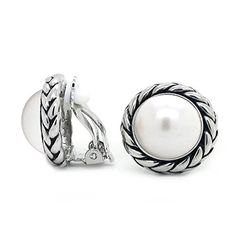 Sparkly Bride Braided Rope Simulated Pearl Antique Style Fashion Clip On Earrings >>> You can find out more details at the link of the image.