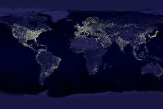 Energy Poverty: This snapshot of the world at night, stitched together from NASA photos, contrasts Africa's electricity use with that in the global north. Energy poverty translates topoor health care, stifled economic growth, toxic fumes, limited opportunity for education, and lack of personal safety. Fortunately, there are potential solutions. (Photo: Courtesy NASA)