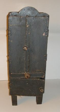 One Of A Kind - Antique - Handmade - Early 1900's - Childs Cupboard - Old Worn Green Paint - $120