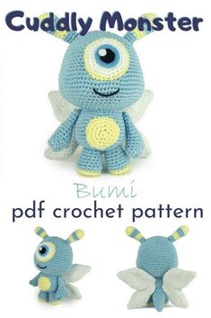 Can't wait to make this sweet little Bumi alien with butterfly wings crocheted toy! Softie Pattern, Crochet Doll Pattern, Crochet Toys Patterns, Baby Knitting Patterns, Amigurumi Patterns, Doll Patterns, Sewing Patterns, Stuffed Animal Patterns, Diy Stuffed Animals