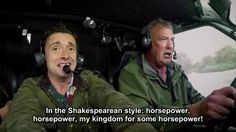 """""""In true Shakespearean style, 'horsepower, horsepower, my kingdom for some horsepower!'"""" as they drove the Hover-van on a weir."""