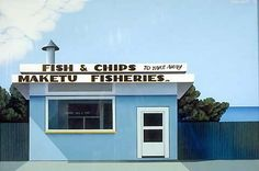 Robin White Fish and chips, Maketu 1975 Oil on canvas Auckland Art Gallery Toi o Tāmaki, purchased 1975 Auckland Art Gallery, Long White Cloud, Dark Cloud, Fish And Chip Shop, New Zealand Landscape, New Zealand Art, Nz Art, Kiwiana, Fish And Chips