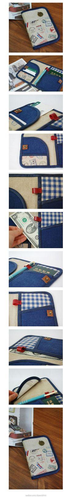 Travel Wallet Tutorial  韩网搜到的护照证件夹,非常精致,喜欢的同学可以参考了~~