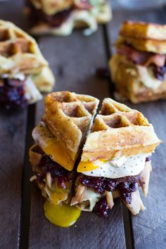 Turkey, Smashed Avocado, Cranberry, Brie and Mashed Potato Waffle Melts & 16 Other Delicious Breakfast Sandwiches Worth Waking Up For Thanksgiving Leftover Recipes, Thanksgiving Leftovers, Leftover Turkey, Thanksgiving Appetizers, Turkey Leftovers, Turkey Bacon, Bacon Egg, I Love Food, Good Food