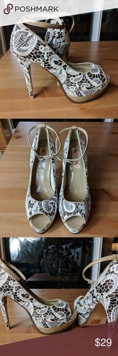 TWO LIPS Brown/Ivory Lace Peep Toe Heal 10 NWOT Brand new, never worn. No box. Small scuff front toe as pictured. Beautiful and classy perfect for a wedding.  TWO LIPS RSVP Brown/Ivory Lace Spike Heel Peep Toe Women's 10 Shoes Heels