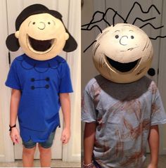 Making the Peanuts costumes for our school Halloween skit, I first tried to make the head out of paper mache but the punching balloons kept breaking and it Lucy Costume Peanuts, Lucy Charlie Brown Costume, Snoopy Costume, Charlie Brown Halloween, Peanuts Halloween, Peanuts Christmas, Charlie Brown Christmas, Halloween Fun, Snoopy Christmas Decorations