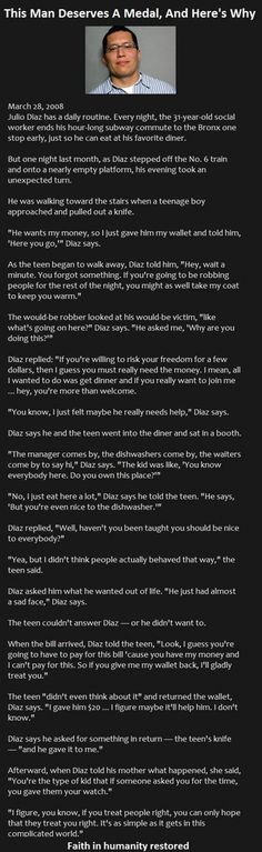My faith in humanity has been restored after reading this man's brave and heroic story. Truly Amazing!