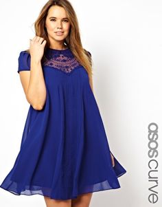 Image 1 of ASOS CURVE Exclusive Swing Dress with Lace Insert