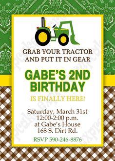 DIY John Deere 3 PRINTABLE Birthday party Invitation green brown yellow tractor