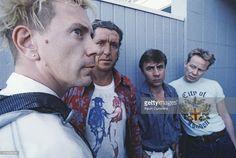 English punk group the Sex Pistols during their Filthy Lucre reunion tour, 1996. Left to right: singer John Lydon, guitarist Steve Jones, bassist Glen Matlock and drummer Paul Cook.