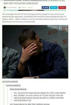 """The comments. Seriously. if any """"beliebers"""" watch supernatural they probably don't even know what's happening"""