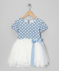 STUNNING BLUE AND WHITE POLKA DOT TULLE PARTY DRESS via It's The Little Things Boutique. Click on the image to see more!
