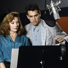 paige o'hara and robby benson recording their voices in disney's beauty and the beast