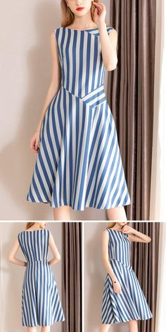 Casual O-Neck Gathered Waist Pinafore Patchwork Skater Dress fashion dresses casual Dresses Elegant, Simple Dresses, Women's Dresses, Cute Dresses, Casual Dresses, Fashion Dresses, Dresses For Work, Summer Dresses, Formal Dresses