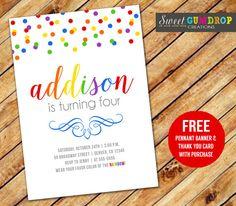 Rainbow Confetti Birthday Invitation  Printable  by SweetGumdrop