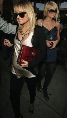 Nicole Richie wearing Ray-Ban Wayfarer Sunglasses in Black, Ekatrina Tessa Clutch,  Out for Dinner in Hollywood November 26 2007
