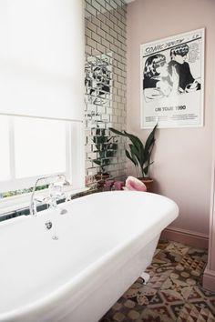 Leith Clark Stylist Whimsy London Townhouse Home Tour pastel pink bathroom, mirror subway tile Bad Inspiration, Bathroom Inspiration, Bathroom Furniture, Bathroom Wall, Bathroom Shelves, Quirky Bathroom, Budget Bathroom, Bathroom Cabinets, Bathroom Ideas