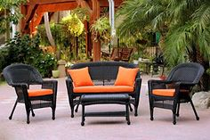 4Piece Black Wicker Patio Chair Loveseat  Table Furniture Set  Orange Cushions >>> Be sure to check out this awesome product.
