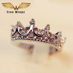 Connessione W ings D'argento della regina Corona Anelli Per Le Donne Punk Marca Crystal Jewellery Anelli di Amore Femme Bijoux wedding engagement anelli