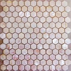 Hexagon Pink Mother Of Pearl Mosaic Tiles Natural Pink Hexagonal Shell Tiles